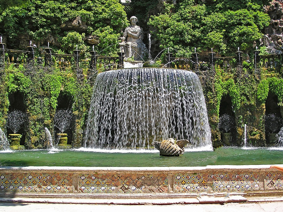 Villa D'este, Tivoli, Italy, Europe, Art, Artwork, Pond