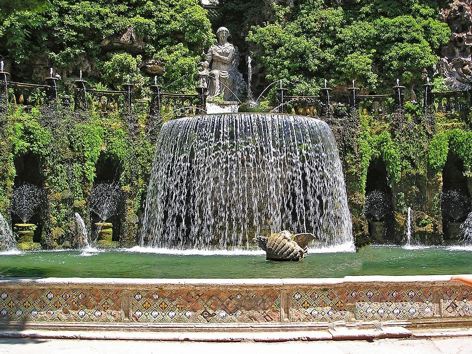 Villa D'este, Tivoli, Italy, Europe, Art, Artwork, Pond