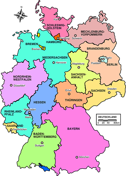 Germany, Map, Political, Regions, Country, Europe