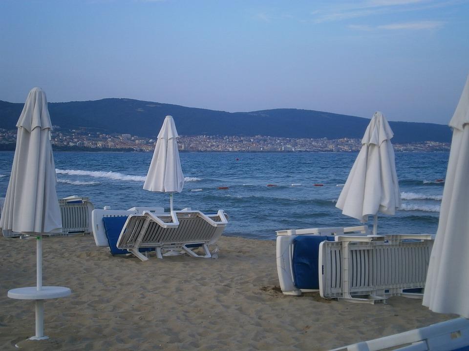 Bulgaria, Sea, Sand, Beach, Evening, Parasol