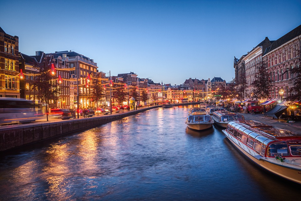 Canal, Boats, Buildings, Reflection, Evening, Lights