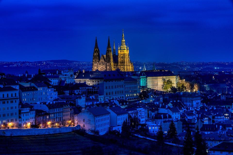 City, Buildings, Prague, Night, Evening, Historic