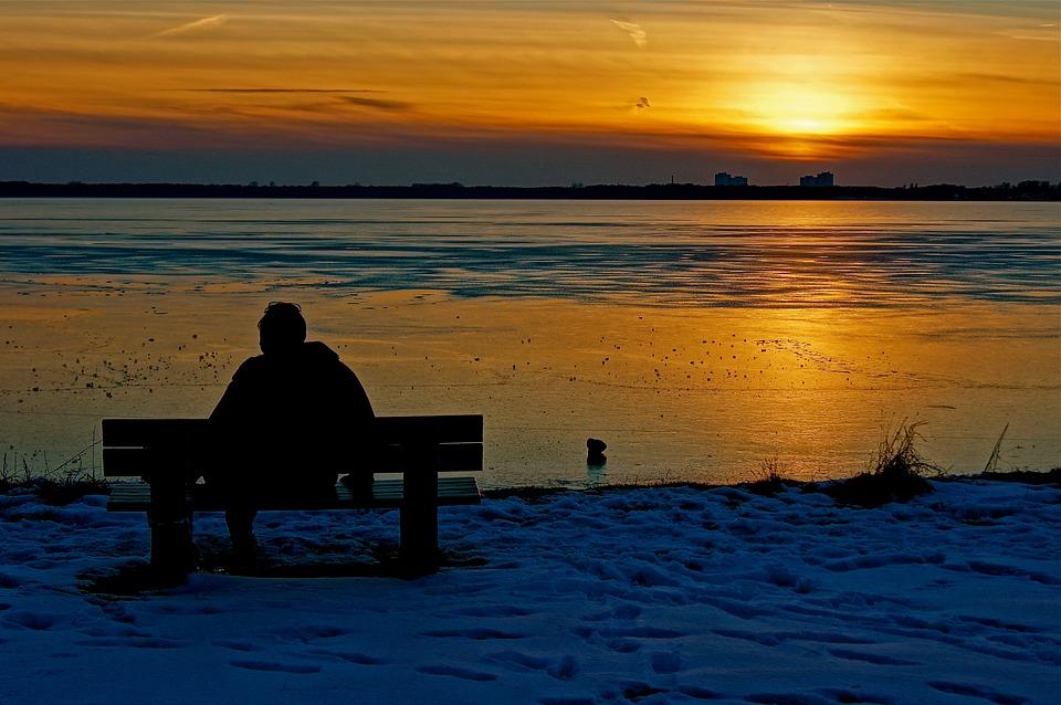 Sun, Clouds, Evening, Human, Alone, Romance, Romantic