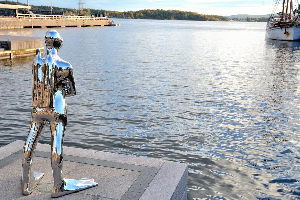 Sculpture, Diver, Diving, Sea, Oslo, Norway, Evening