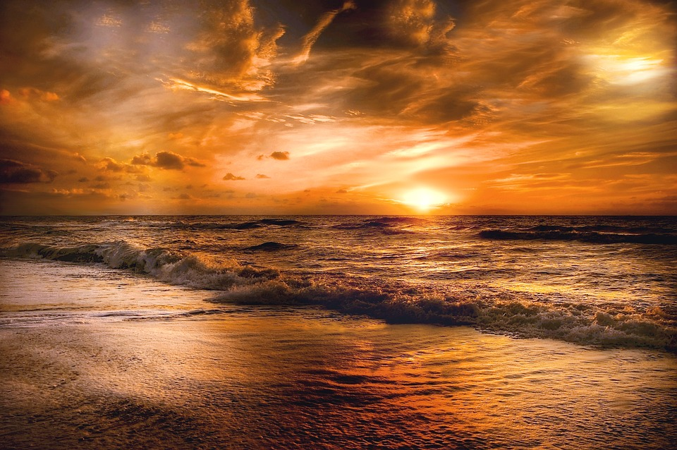 Sunset, Beach, Sky, Dusk, Nature, Evening, Landscape