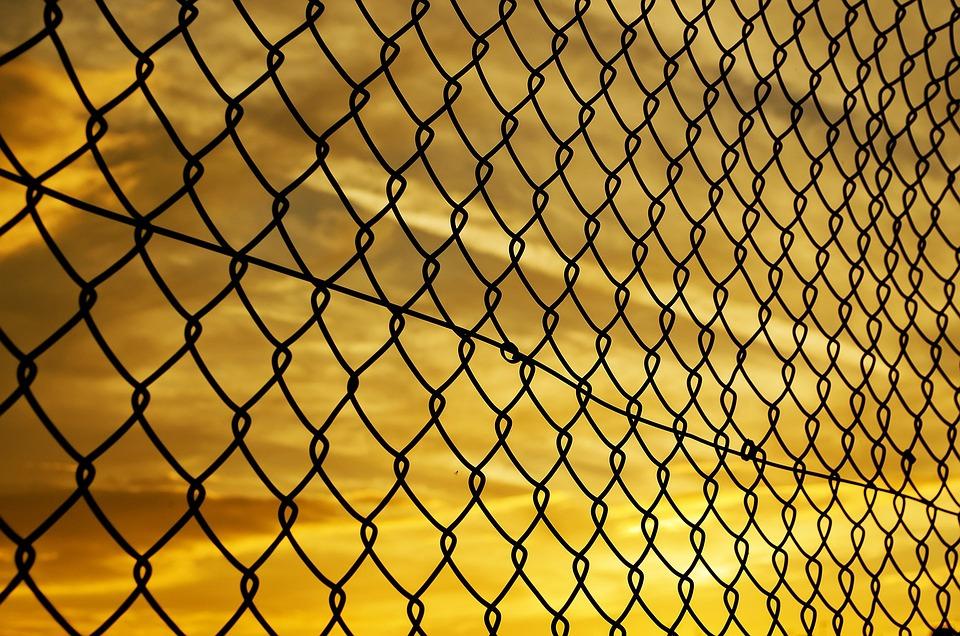 Sunset, Background, Fence, Mesh, Iron, Evening, Orange
