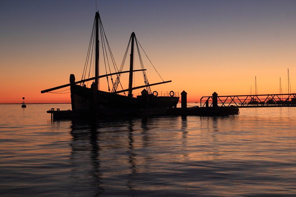 Portugal, Olhao, Fishing, Boat, Sunset, Evening