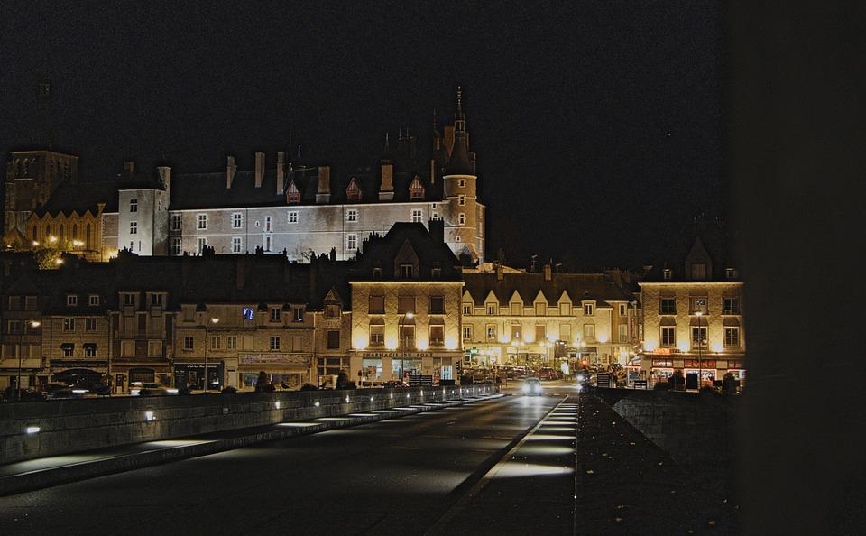 Gien, Night, Evening, Light, Lighting, Illuminations