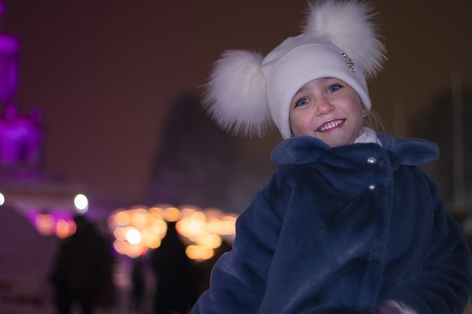 Portrait, Beautiful, Girl, Winter, Evening, Happy