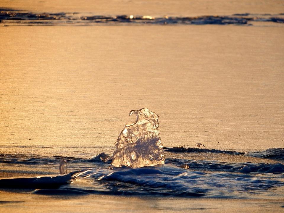 Ice, Lake, Water, Winter, Snow, Glitter, Evening