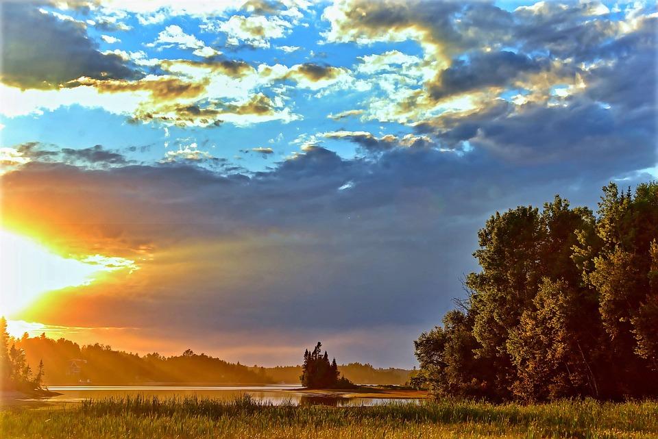 Landscape, Sunset, Twilight, Evening, Clouds, Lake