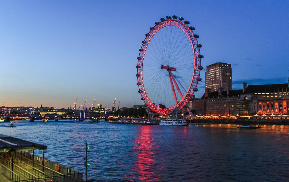 London Eye, Ferris Wheel, Night, Evening, Abendstimmung