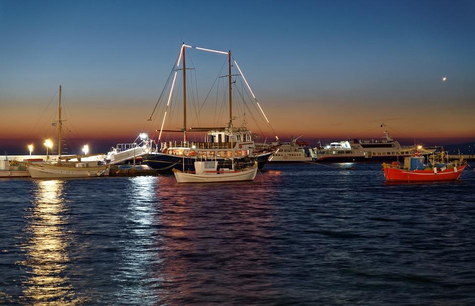 Port, Evening, Mood, Boats, Lights, Sunset, Mykonos