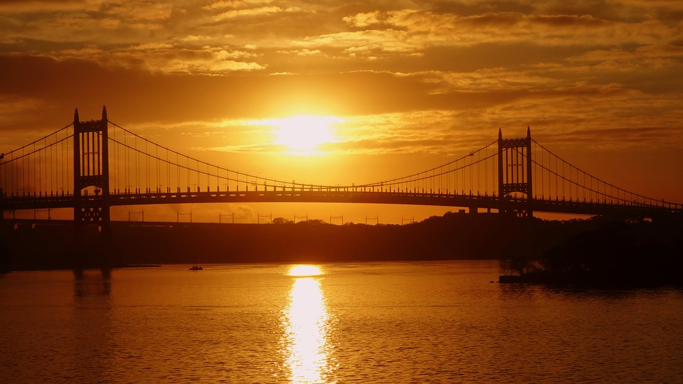 Sunset, New York, The Brooklyn Bridge, Evening