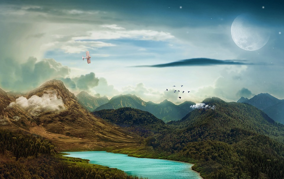 Landscape, Mountains, Lake, Night, Day, Evening