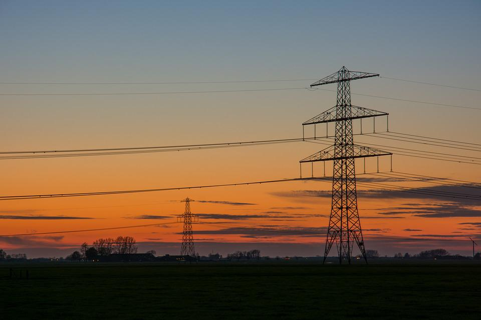 Electric Poles, Stream, Nightfall, Evening, Twilight