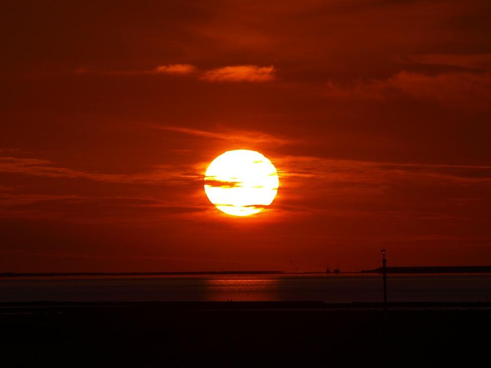 North Sea, Evening, Abendstimmung, Wadden Sea, Sky, Sea
