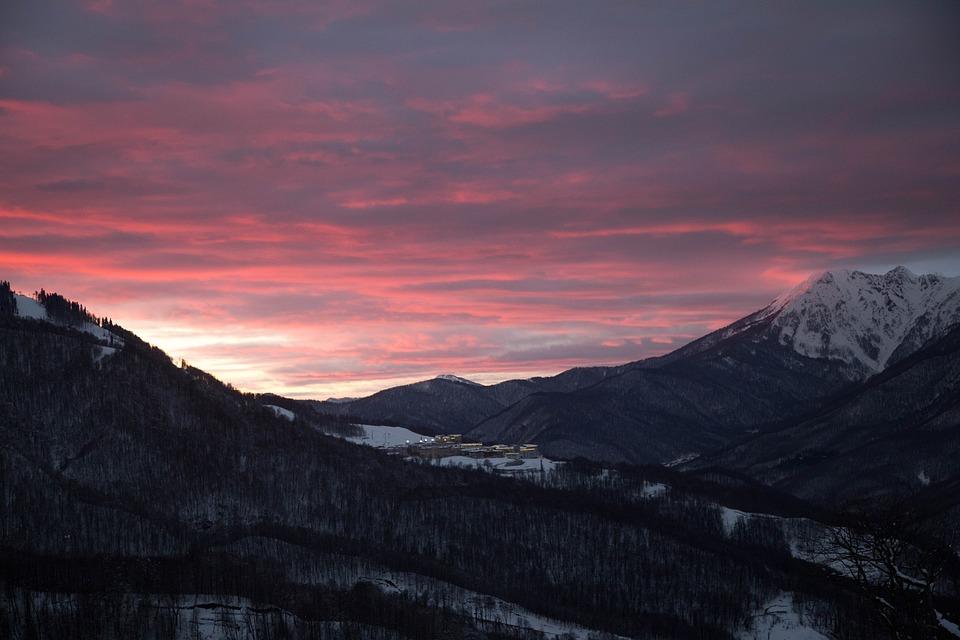 Sochi, Mountain, Sunset, Evening, Look, Pink Clouds