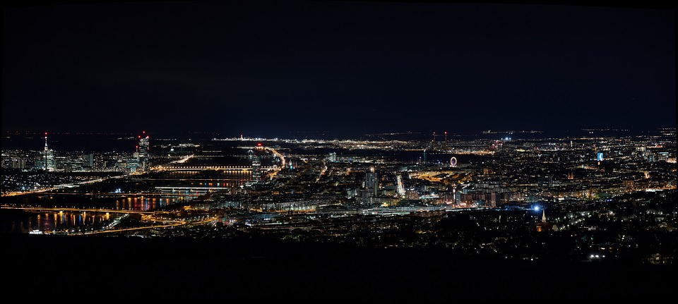 Vienna, Panorama, Night, Evening, Ferris Wheel, Prater
