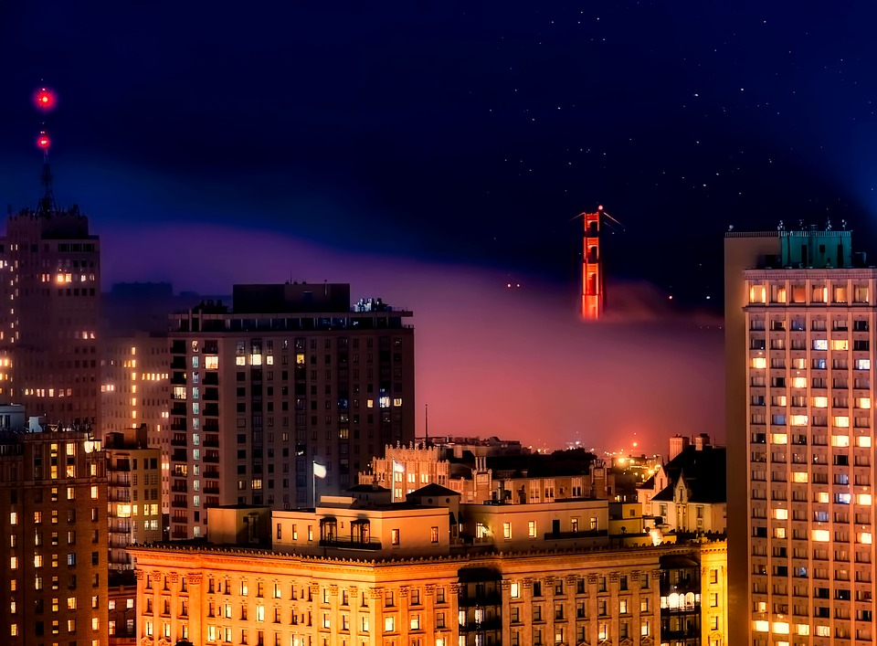 San Francisco, Night, Evening, Lights