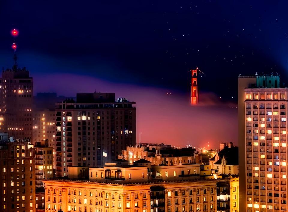 San Francisco, Night, Evening, Lights