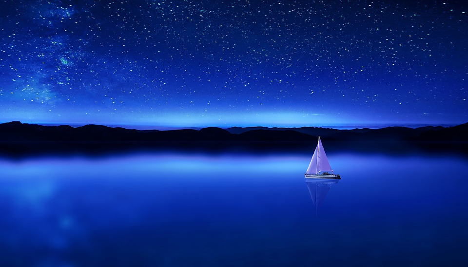 Sky, Dusk, Darkness, Evening, Waters, Sea, Light
