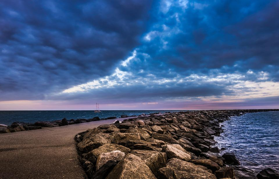 Mole, Sea, Sunset, Evening, Ocean, Stones, Away, Road