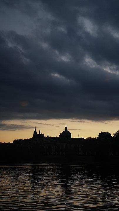 Prague, Skyline, Silhouette, Evening