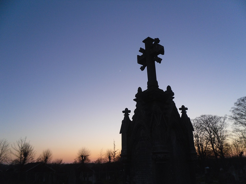 Cemetery, Stone, Silhouette, Shape, Evening, Sky, Grave