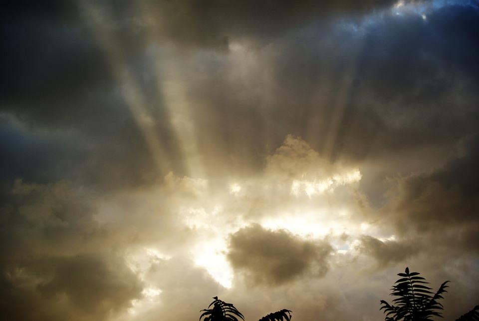Sky, Lights, Clouds, Storm, Grey, Sun, Evening, Summer