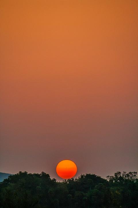 Sunset, Sky, Outdoors, Nature, Moon, Dusk, Sun, Evening