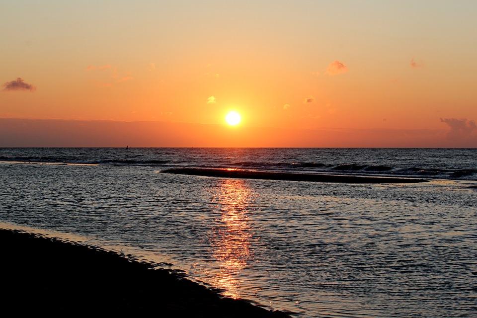 Sunset, Sea, Beach, Evening Sky, Sun, Setting Sun