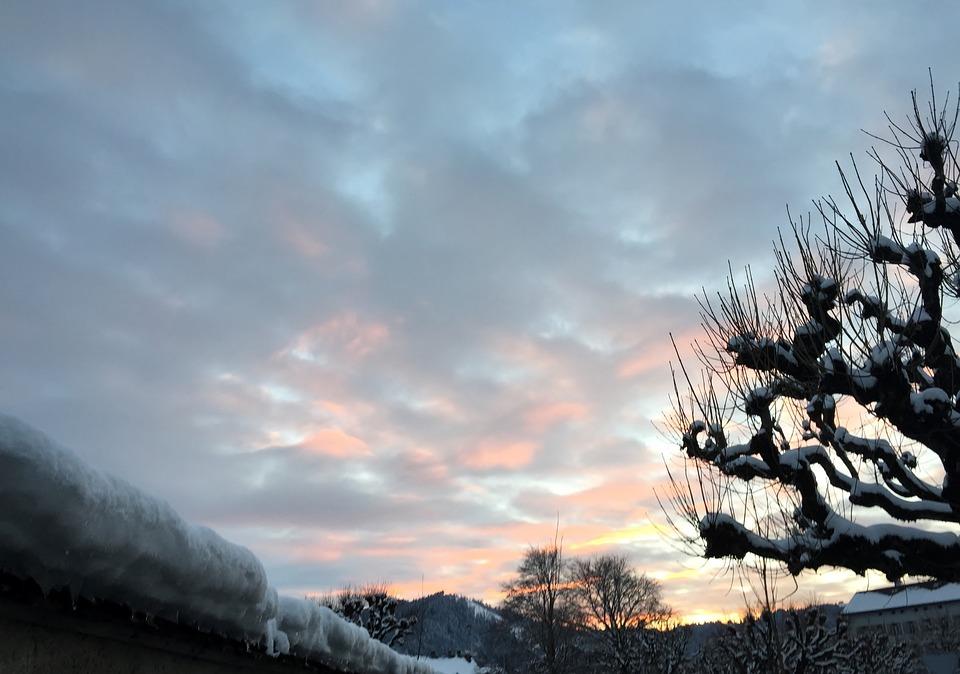 Evening, Evening Sky, Winter, Snow, Plane, Mood