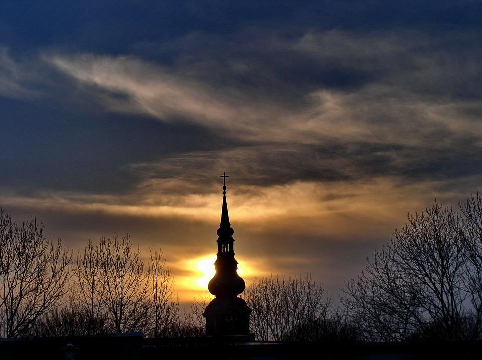 Sunset, Winter, Steeple, Clouds, Evening Sky, Reed