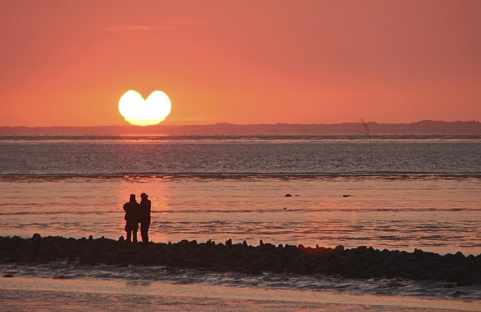 Sunset Heart Afterglow Sea Sun Evening Sky