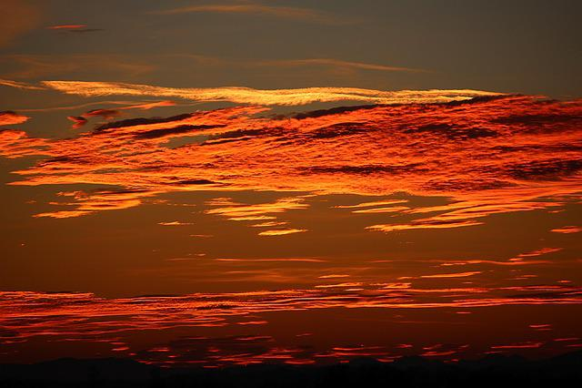 Sunset, Evening Sky, Red, Afterglow, Abendstimmung