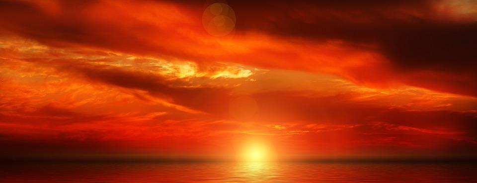 Sunset, Clouds, Sky, Evening Sky, Abendstimmung, Sea