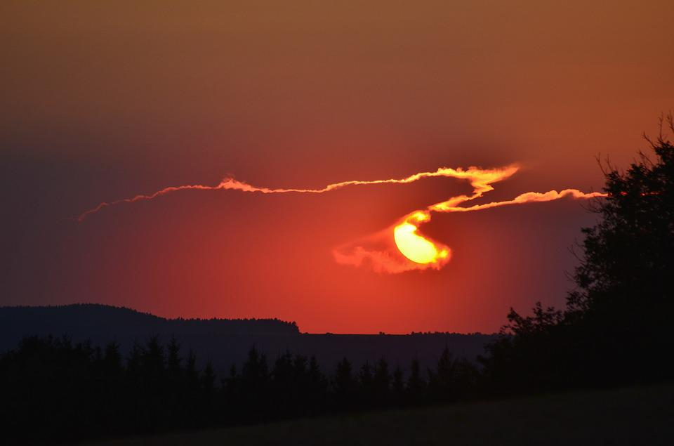 Sunset, Thuringia Germany, Evening Sky, Twilight