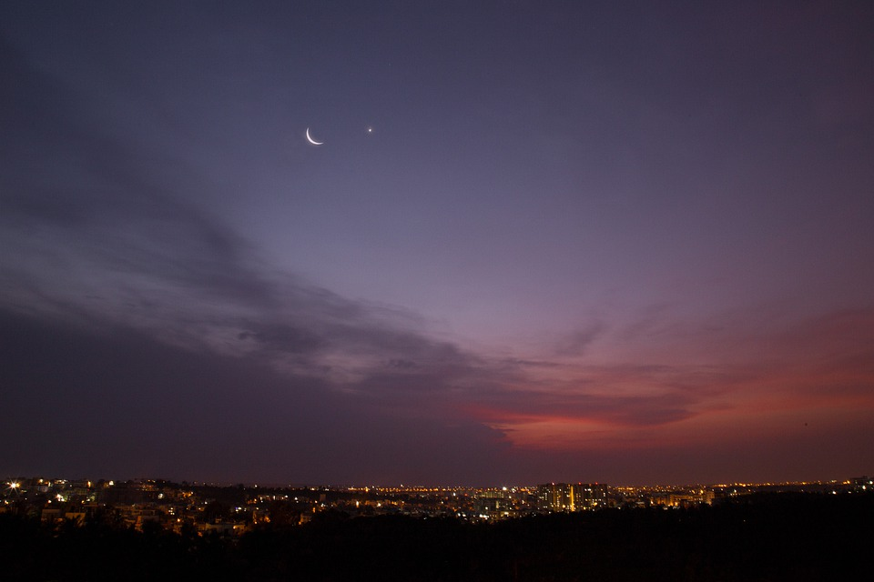 Crescent Moon, Evening Star, Venus, Crescent, Star