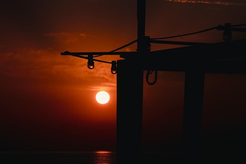 Evening Sun, Beach Cafe, Light Bulbs, Wooden Beams