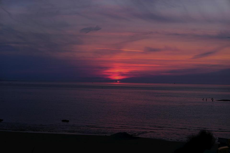 Sunset, Afterglow, Beach, Evening, Sun, Blue, Holiday
