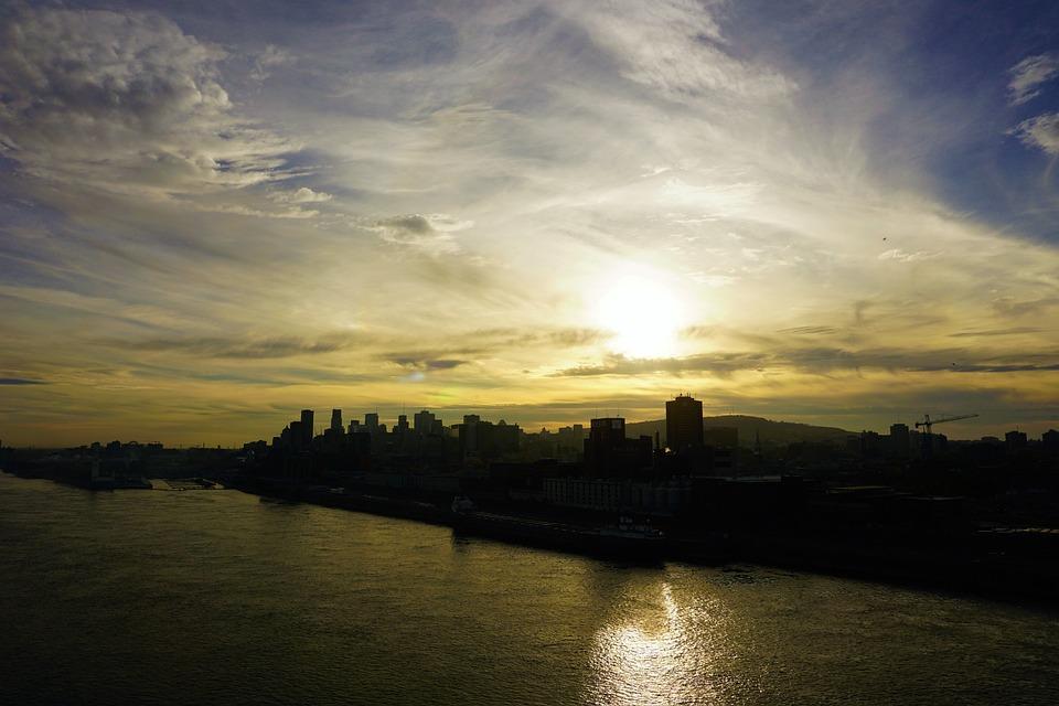 Montreal, Skyline, Evening, Dusk, Sun