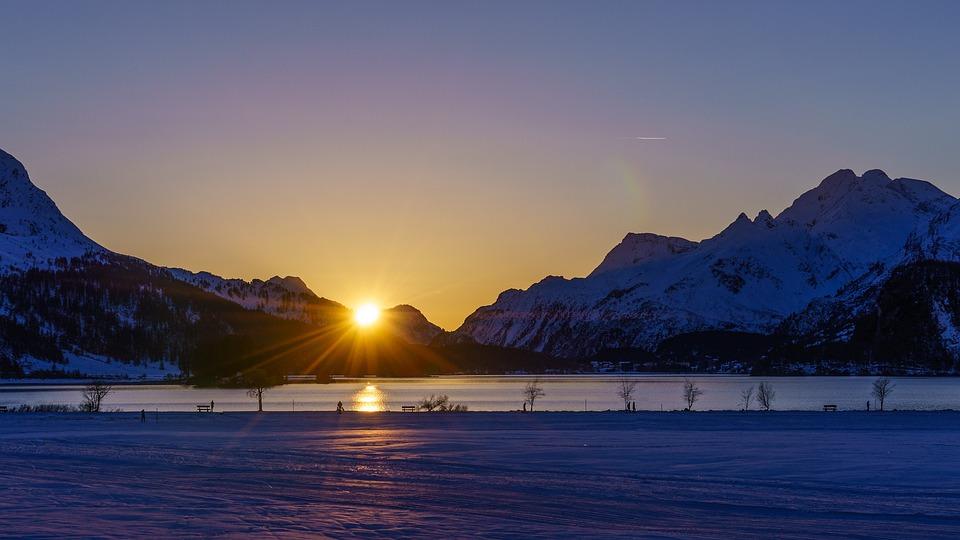 Engadin, Lake Sils, Evening Sun, Sunset, Lake, Lane