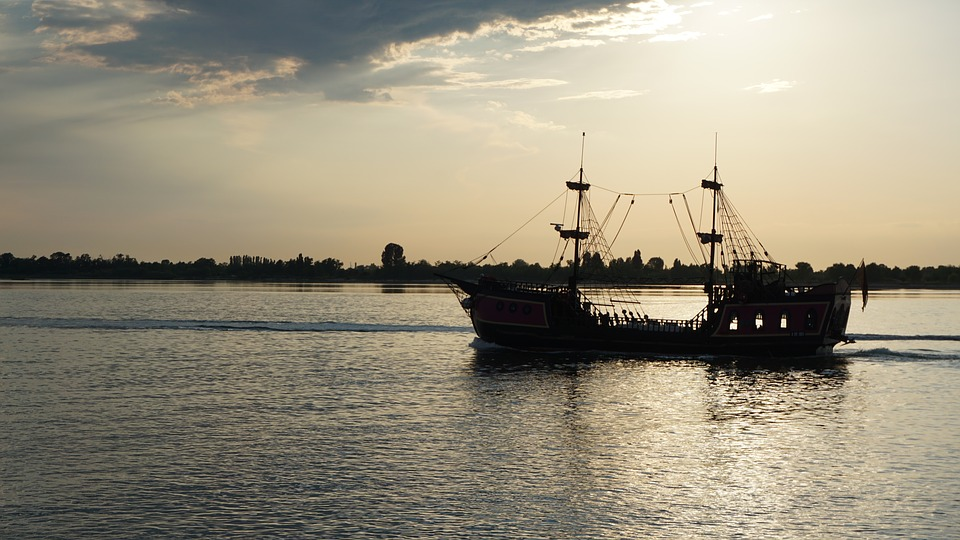 Sonenuntergang, Ship, Sea, Water, Evening Sun
