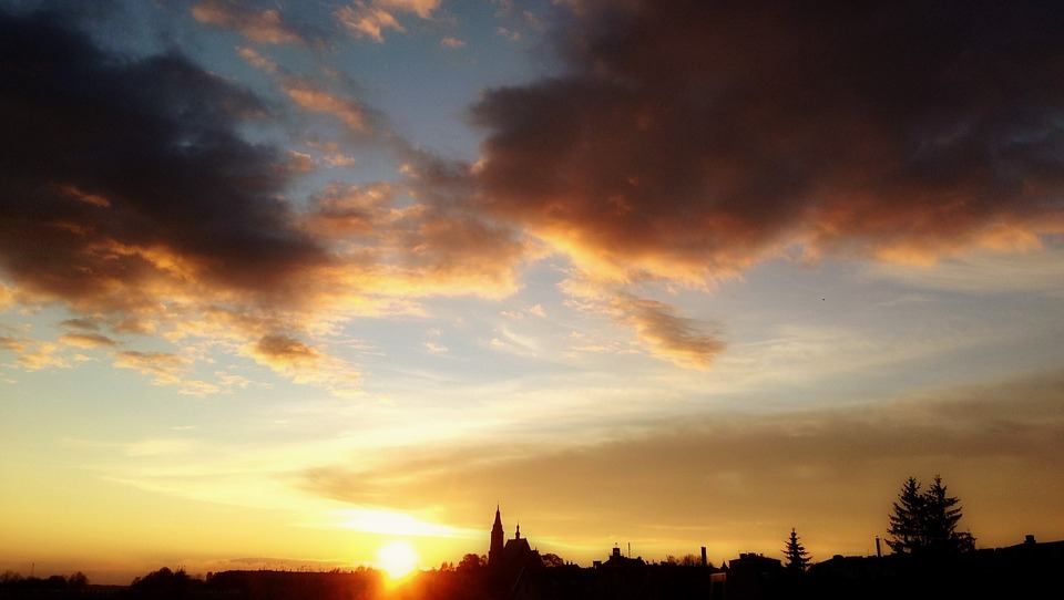 Olkusz, Poland, Sunset, Clouds, Sky, Landscape, Evening