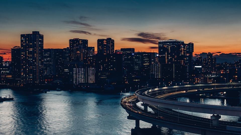City, Bridge, Evening, Twilight, Bay, Rainbow Bridge