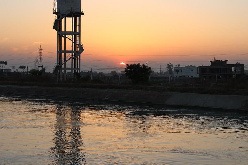 Water Tank, Sunset, River, Water, Evening, Patiala