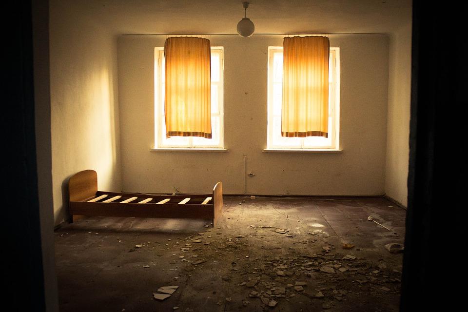 Window, Bed, Room, Furniture, Light, Evening, Garbage