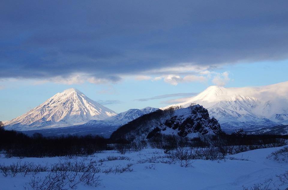 Volcanoes, Mountains, Winter, Snow, Evening, Clouds