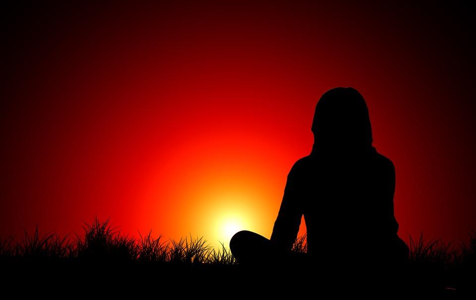Sunset, Woman, Silhouette, Meditation, Evening